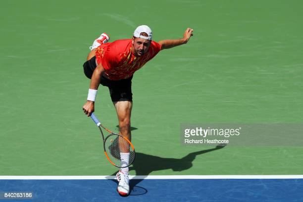 Tennys Sandgren of the United States serves during his first round Men's Singles match against Marin Cilic of Croatia on Day One of the 2017 US Open...