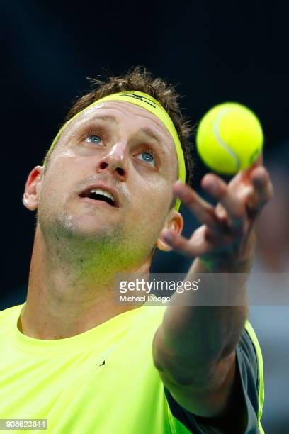 Tennys Sandgren of the United States serves in his fourth round match against Dominic Thiem of Austria on day eight of the 2018 Australian Open at...
