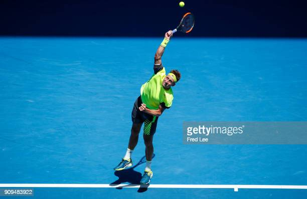 Tennys Sandgren of the United States serves in his quarterfinal match against Hyeon Chung of South Korea on day 10 of the 2018 Australian Open at...
