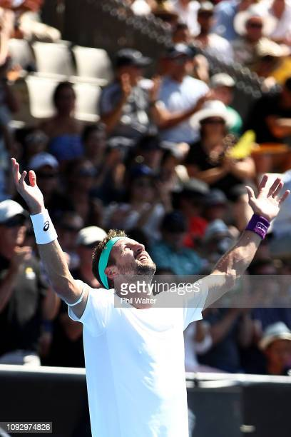 Tennys Sandgren of the USA celebrates winning his Mens Singles Final against Cameron Norrie of Great Britain during the 2019 ASB Classic at the ASB...