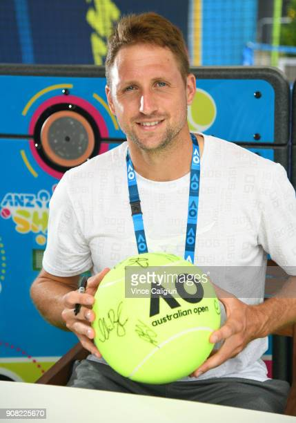Tennys Sandgren of USA is seen at autograph island on day seven of the 2018 Australian Open at Melbourne Park on January 20 2018 in Melbourne...