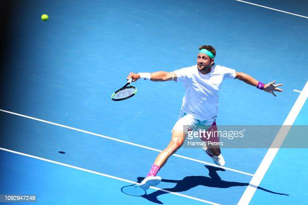 Tennys Sandgren of USA plays a backhand during the Men's final match against Cameron Norrie of Great Britain during the 2019 ASB Classic at the ASB...