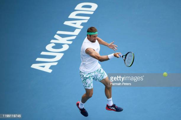 Tennys Sandgren of USA plays a forehand against Michael Venus of New Zealand during day one of the 2020 Men's ASB Classic at ASB Tennis Centre on...