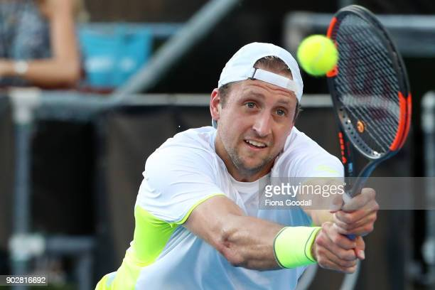 Tennys Sandgren of USA plays a forehand in his first round match against Hyeon Chung of Korea during day two of the ASB Men's Classic at ASB Tennis...