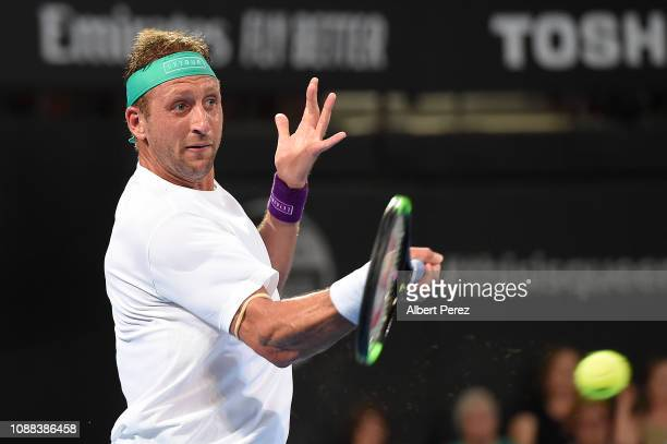 Tennys Sandgren of USA plays a forehand in his match against John Millman of Australia during day two of the 2019 Brisbane International at Pat...