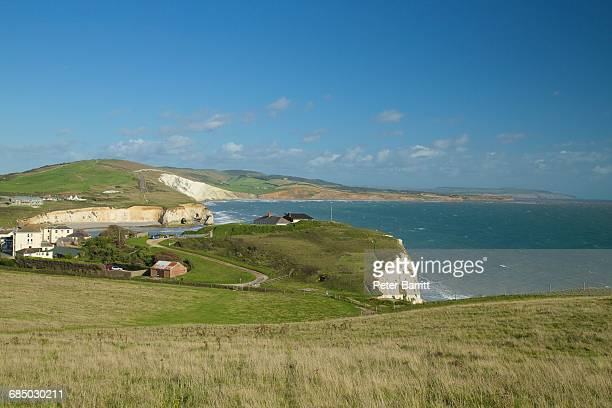 tennyson down looking towards freshwater bay, isle of wight, england, uk, gb - freshwater bay isle of wight ストックフォトと画像