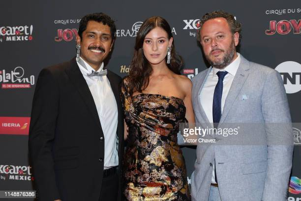 Tenoch Huerta and Alejandra Guilmant attend the red carpet of the Premios Platino 2019 at Occidental Xcaret Hotel on May 12, 2019 in Playa del...