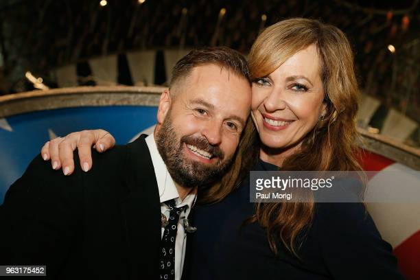 Tenor Alfie Boe and actress Allison Janney pose for a photo during the finale of the 2018 National Memorial Day Concert at US Capitol West Lawn on...