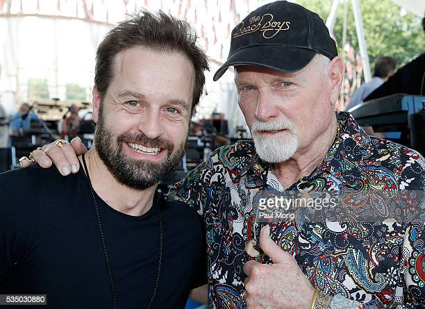 Tenor Alfie Boe and singer Mike Love of The Beach Boys pose for a photo during the 27th National Memorial Day Concert Rehearsals on May 28 2016 in...