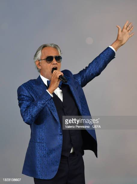 Tenor Andrea Bocelli performs Giacomo Puccini's 'Nessun dorma' ahead of the UEFA Euro 2020 Championship Group A match between Turkey and Italy on...
