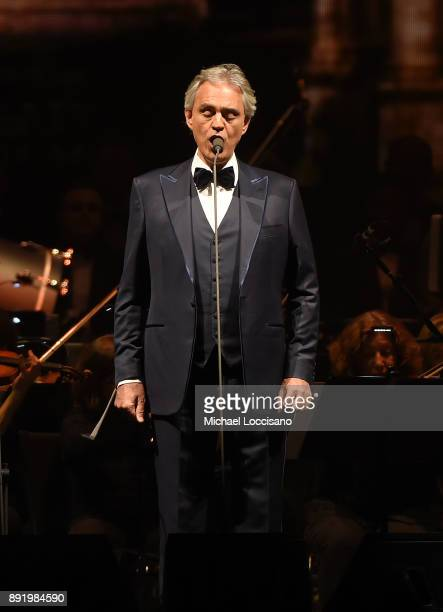 Tenor Andrea Bocelli performs in concert at Madison Square Garden on December 13 2017 in New York City