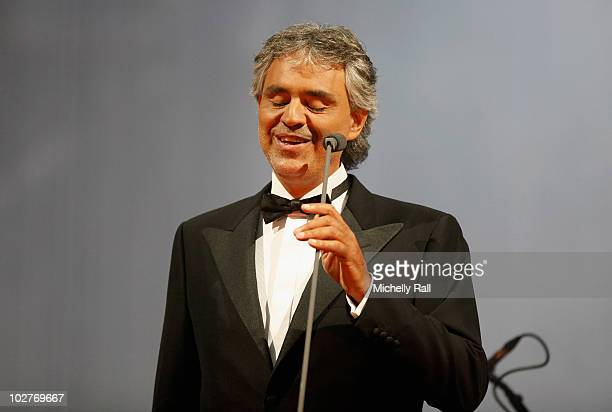 Tenor Andrea Bocelli performs on stage during the Celebrate Africa The Grand Finale at the Coca Cola Dome on July 9 2010 in Johannesburg South Africa