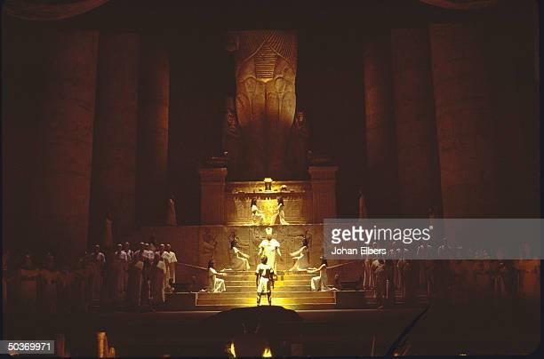 Tenor Fabio Armiliato as Rhadames facing unident singer as Ramfis during the judgement scene fr Verdi's Aida at the Met