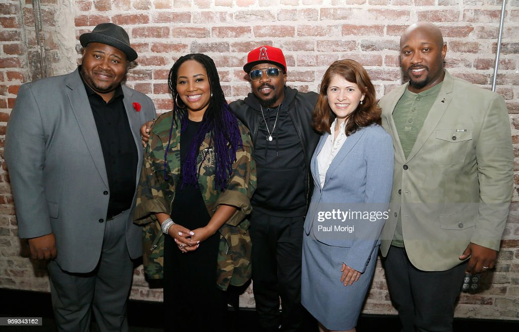 Tenor Issachah Savage, singer Lalah Hathaway, singer, songwriter and producer Anthony Hamilton, Nazaneen Grant, MD, Associate Professor of Otolaryngology - Head and Neck Surgery, MedStar Georgetown University Hospital, and Jeriel Johnson, Executive Director, The Recording Academy DC Chapter, attend the Vocal Health Clinic event hosted by The Recording Academy WDC Chapter and MusiCares at the National Union Building on May 16, 2018 in Washington, DC.