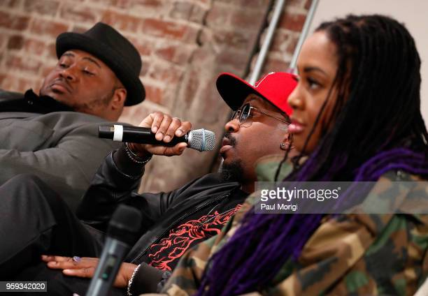 Tenor Issachah Savage singer songwriter and producer Anthony Hamilton and singer Lalah Hathaway participate in panel discussion at the Vocal Health...