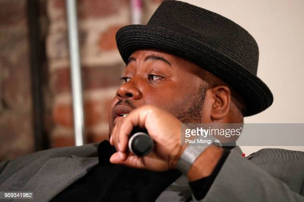Tenor Issachah Savage speaks during a panel discussion at the Vocal Health Clinic event hosted by The Recording Academy WDC Chapter and MusiCares at...