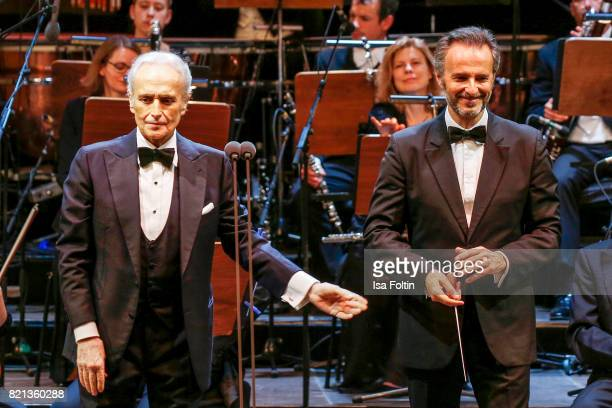 Tenor Jose Carreras and conductor David Gimenez perfom on stage during the Thurn Taxis Castle Festival 2017 on July 23 2017 in Regensburg Germany