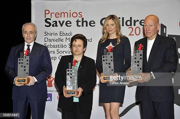 Tenor Jose Carreras Iranian Nobel Peace Prize Shirin Ebadi actress Mira Sorvino and Brazilian photographer Sebastiao Salgado pose for the...
