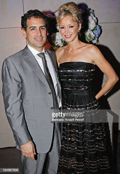 Tenor Juan Diego Florez and his wife Julia Trappe attend AROP Gala Dinner on October 18 2012 in Paris France
