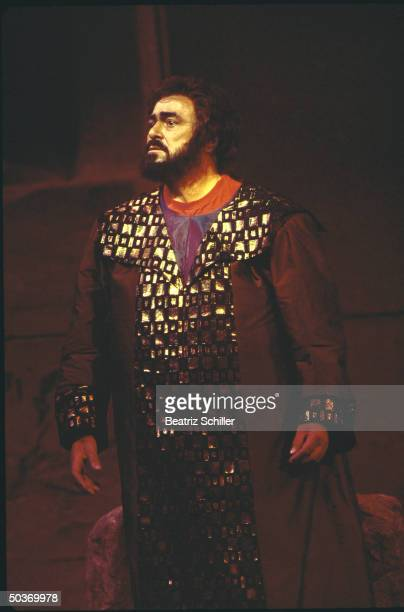 Tenor Luciano Pavarotti as Radames in a scene fr Verdi's Aida during Metropolitan Opera Gala in his honor also featuring him w other artists in...