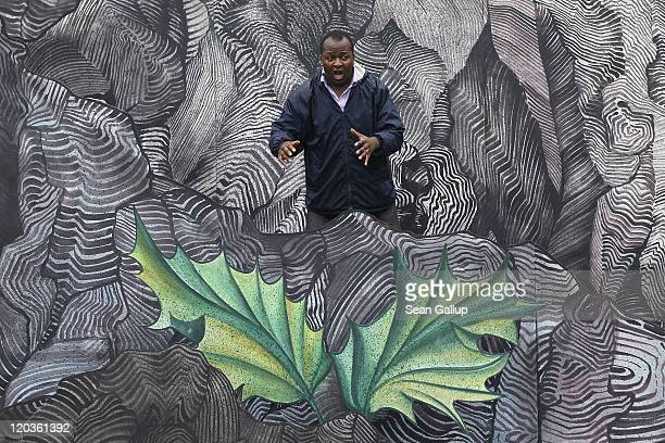 Tenor Musa Nkuna who plays Tamino rehearses on the set for the Seefestspiele 2011 music festival ahead of the performance of Mozart's The Magic Flute...