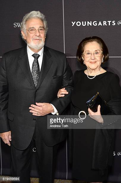 Tenor Placido Domingo and Marta Domingo attend the National YoungArts Foundation Inaugural New York Gala at Metropolitan Museum of Art on April 6...