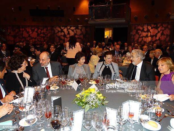 Tenor Placido Domingo and Marta Ornelas attend a dinner after his concert on April 30 2015 in Barcelona Spain