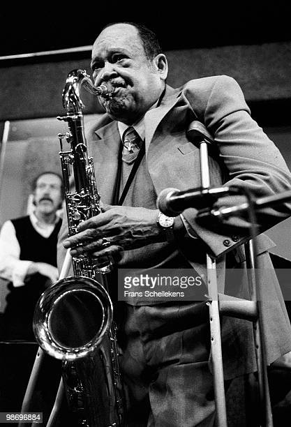 Tenor Sax player Arnett Cobb performs live on stage with bassist Jacques Schols behind at Bimhuis in Amsterdam, Netherlands on November 19 1982