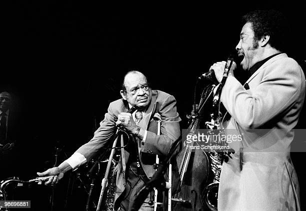 Tenor Sax player Arnett Cobb performs live on stage with Johnny Griffin at Meervaart in Amsterdam, Netherlands on April 01 1984