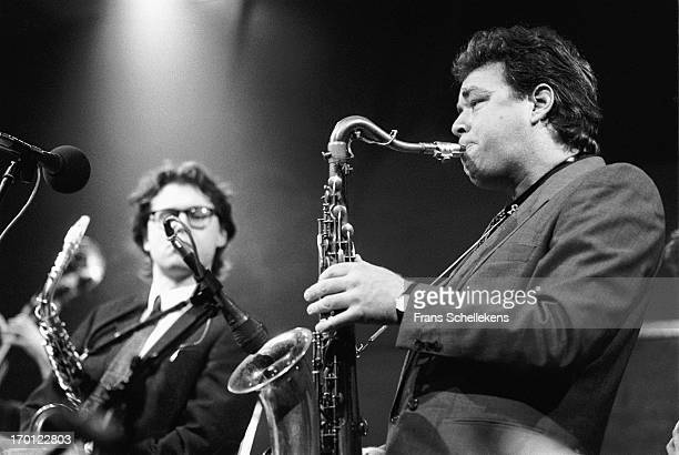 Tenor sax player Jan Cees Tans performs with Jan Willem van Ham at the BIM Huis in Amsterdam, Netherlands on 8th December 1987.