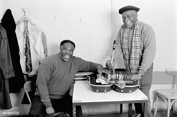 Tenor saxophone players Houston Person and David 'Fathead' Newman pose at dressing room on January 29th 1998 at the BIM huis in Amsterdam,...