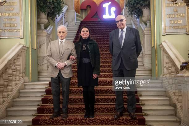 Tenor singer Josep Carreras Montserrat Caballe's daughter Montserrat Marti and Salvador Alemany attend the press conference at Gran Teatre del Liceu...