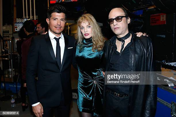 Tenor Vincent Niclo Arielle Dombasle and Nicolas Ker attend the 'Vivement Dimanche' French TV Show at Pavillon Gabriel on January 6 2016 in Paris...
