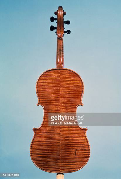 Tenor viola reare view made by Antonio Stradivari Italy 17th century Florence Museo Strumenti Musicali Conservatorio Cherubini