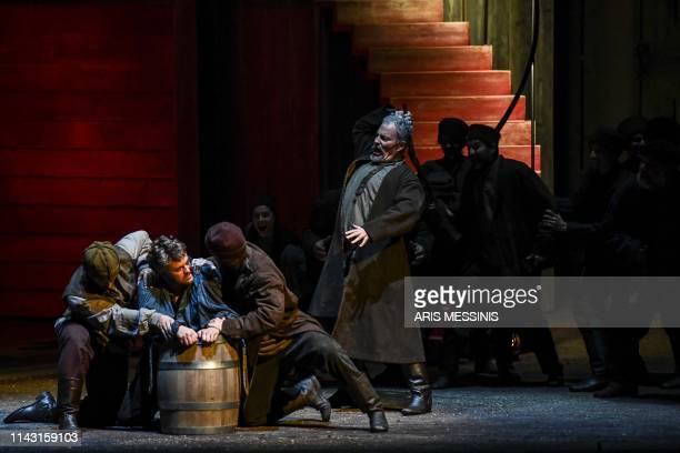 Tenors and actors perform during a general rehearsal of 'Lady Macbeth of Mtsensk' an opera by Russian composer Dmitri Shostakovich and directed by...