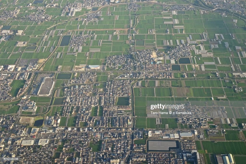 Tenri city in Nara prefecture daytime aerial view from airplane : ストックフォト