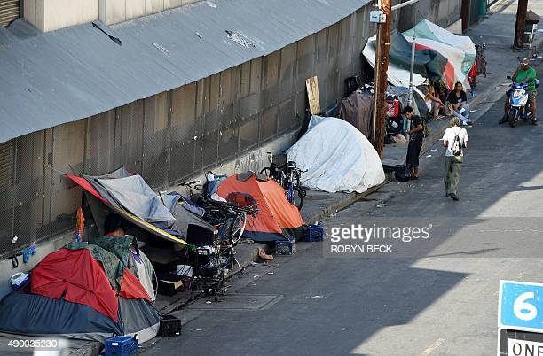 Tens are placed along Skid Row is seen in Los Angles on September 23 2015 Los Angeles elected officials this week declared a homelessness state of...