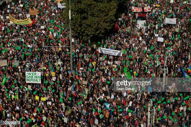 Tens of thousand of activists march to protest the Stuttgart 21 railway station project on October 9 2010 in Stuttgart Germany Approximately 300...