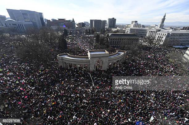 Tens of thousands in Civic Center Park for the Women's March on Denver January 21 2017