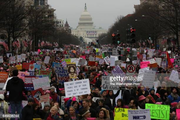 Tens of thousands march to the White House down Pennsylvania Avenue during the Women's March on Washington January 21 2017