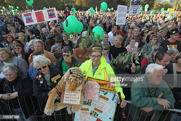 Tens of thousands of activists gather to protest the Stuttgart 21 railway station project in Schlossgarten park on October 9 2010 in Stuttgart...