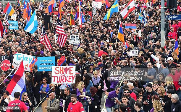Tens of thousands of Armenian Americans take to the streets of Los Angeles on April 24 to march for justice and in memory of victims of the Armenian...