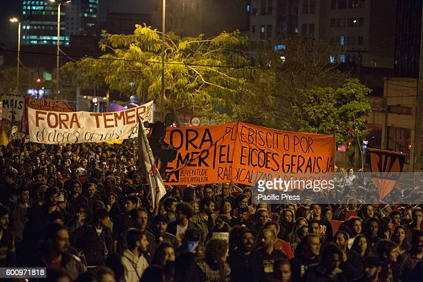 Tens of thousands of Brazilians continue to protest against new president Michel Temer in Sao Paulo