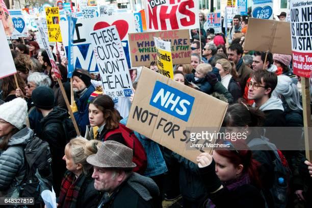Tens of thousands of health workers activists and members of the public protested against austerity and cuts in the NHS on March 4th 2017 in London...