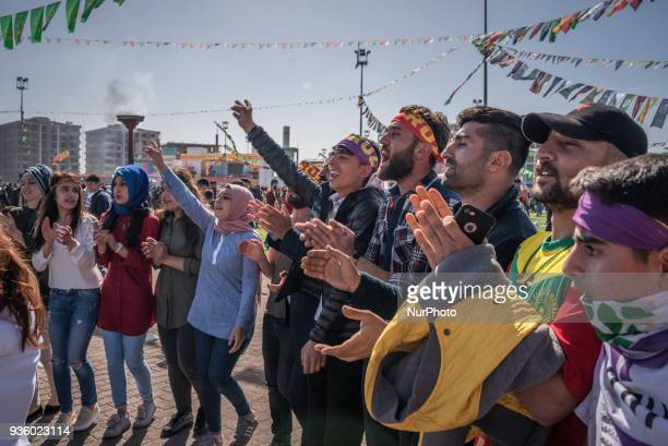 Tens of thousands of Kurds celebrated Newroz the Kurdish New Year in Diyarbakir Turkey on 21 March 2018 The festivities came only days after...