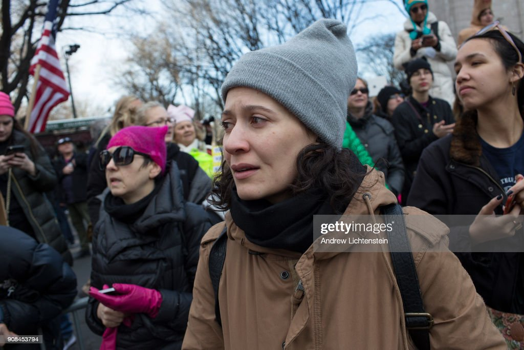 Tens of thousands of marchers participate in New York's second annual Women's March to protest against President Donald Trump on January 20, 2018 in midtown Manhattan.