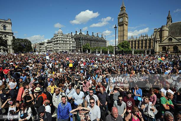 Tens of thousands of people gather in Parliament Square after marching through central London in a 'March For Europe Event' on July 2 2016 in London...