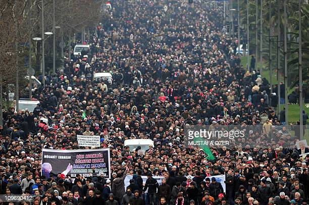 Tens of thousands of people gather on March 1 2011 in Istanbul for the funeral of the country's first Islamist prime minister Necmettin Erbakan in...