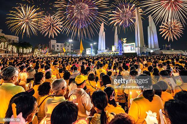 Tens of thousands of people join the candle light ceremony on December 5th, 2013 night to mark His Majesty the Kings 86th birthday on Ratchadamnoen...