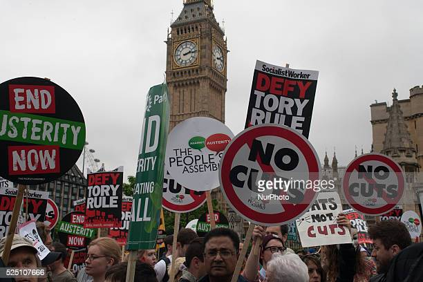 Tens of thousands of people marched though London on June 20 2015 to protest against government spending cuts
